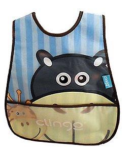 Babador Impermeável com Bolso Coletor Hipopótamo - Clingo