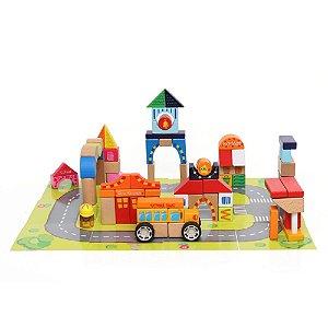 Brinquedo de Atividades Cidade Em Blocos Tauno 84 Peças - Dican