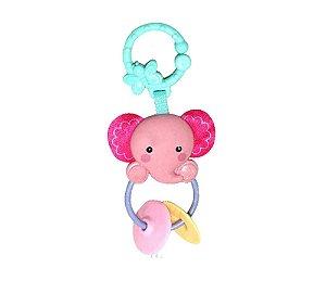 Chocalho Elefante Rosa - Dican