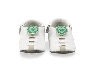 Sapatinho para Bebê Coração Branco e Verde 0 a 24 meses - Shupeas
