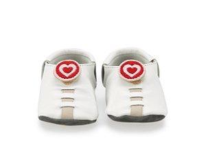 Sapatinho para Bebê Coração Branco e Vermelho 0 a 24 meses - Shupeas