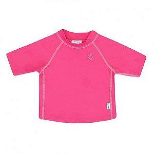 Camisa de Banho Manga Curta Rosa 12m a 18m - Iplay