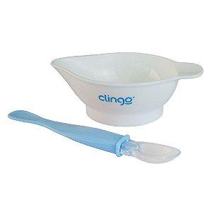 Kit Prato com Colher Azul - Clingo