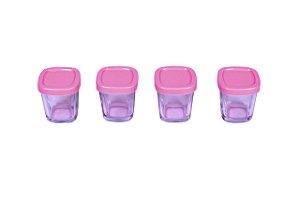 Potes de Vidro Armazenamento de Leite Rosa - Clingo