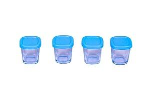 Potes de Vidro Armazenamento de Leite Azul - Clingo
