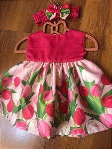 Vestido Baby Tulipas Pink - Sweet Cotton