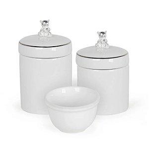 Kit Higiene 3PC Urso Prata e Branco - Modali