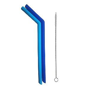Kit 2 Canudos de Silicone com Limpador Azul - Kababy
