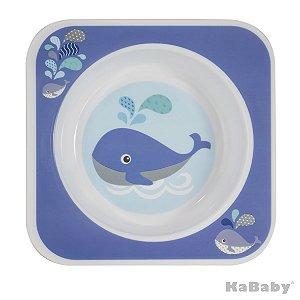 Prato Bowl Quadrado Baleia Azul - Kababy
