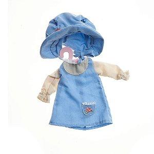 Roupinha de Boneca Camponesa Retro Vestido Azul - Metoo