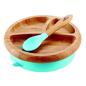 Prato de Bambu Ventosa e Colher de Silicone Azul - Avanchy
