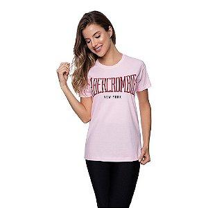 Camiseta Feminina Abercrombie Original Rosa Bebê