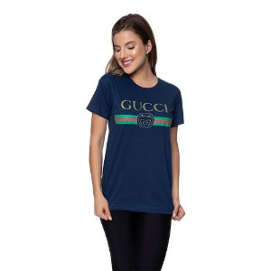 Camiseta Feminina Gucci Original Azul marinho