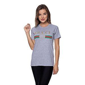 Camiseta Feminina Gucci Original Cinza
