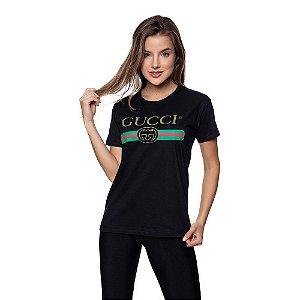 Camiseta Feminina Gucci Original Preta