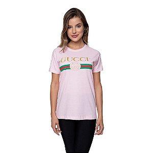 Camiseta Feminina Gucci Original Rosa Bebê