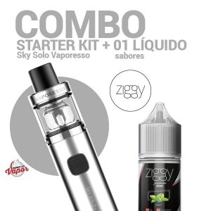 COMBO Kit Sky Solo - Vaporesso + 1 líquido Ziggy 0mg - 30ml