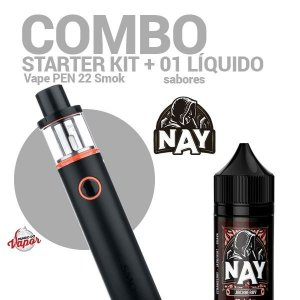 COMBO Kit Vape PEN 22 - Smok + 1 líquido Nay Sabores 0mg - 30ml