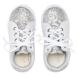 Sneaker Ananás Glitter Prata e branco