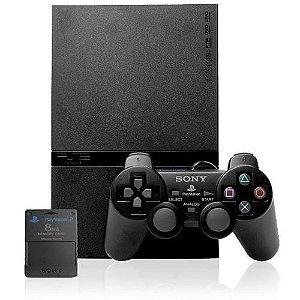 PlayStation 2 Slim Destravado Com 1 Controle Play Game e Memory Card Sony 8MB + 5 jogos - usado