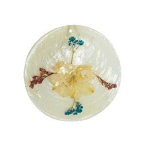 12-0089 - Pacote com 10 Madrepérolas Marfim Redondas com Flor Seca 60mm