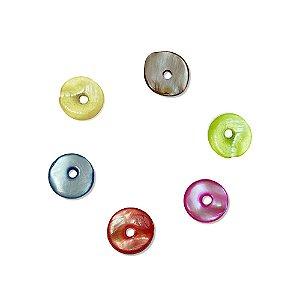 12-0049 - Pacote com 1000 Madrepérolas Coloridas Redondas com Furo Central 9mm