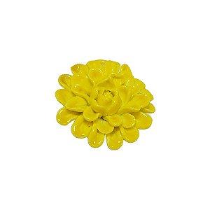 11-0136 - Pacote com 10 Flores com Pétalas de Porcelana Amarela 40mm