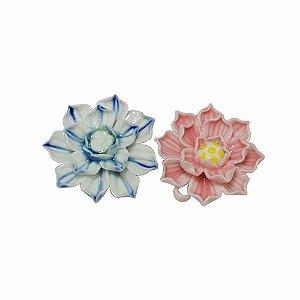 11-0134 - Pacote com 10 Pingentes em Porcelana Flor Colorida 41mm