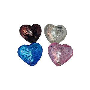 11-0025 - Pacote com 10 Corações de Vidro Colorido 20mm
