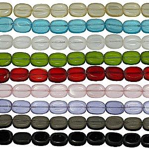11-0024 - Fio de Contas Ovais de Vidro Fosco Colorido 11mm