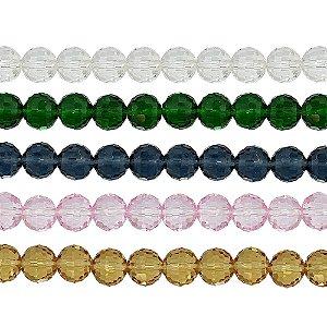11-0019 - Fio de Bolas de Vidro Facetadas Coloridas 10mm