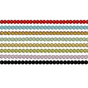 11-0017 - Fio de Bolas de Vidro Facetadas Coloridas 4mm