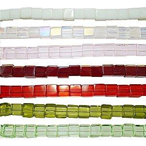11-0013 - Fio de Contas Quadradas de Vidro Colorido 6mm
