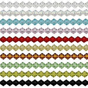 11-0001 - Fio de Balões de Vidro Colorido com Passante 6mm