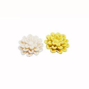 11-0130 - Pacote com 10 Flores com Pétalas de Cerâmica Colorida 18mmx7mm