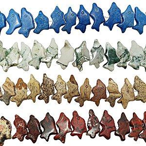10-0001 - Fio de Pedras Coloridas Golfinho com Passante 13mmx7mm