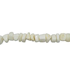 10-0007 - Fio de Pedras Quartzo Branco Cubos com Passante 10mmx10mm