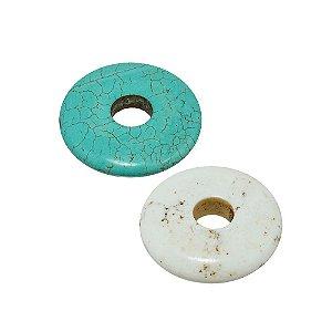 10-0020 - Pacote com 100 Pedras Turquesa/Marfim Disco com Furo Central 35mm