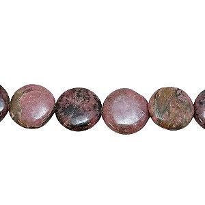 10-0066 - Fio de Pedras Rodonitas Discos com Passante 20mm