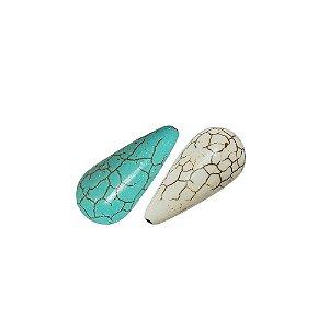 10-0072 - Pacote com 1 Kg de Pedra Turquesa/Marfim Gota com Passante 12mmx25mm