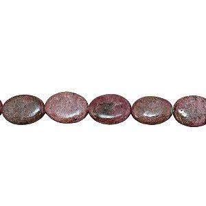 10-0086 - Fio de Pedras Rodonitas Ovais com Passante 20mmx15mm