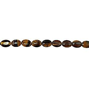 10-0088 - Fio de Pedras Olho de Tigre Ovais com Passante 10mmx14mm