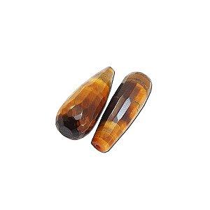10-0090 - Pacote com 10 Pedras Olho de Tigre Gota Facetada com Meio Furo 30mmx10mm