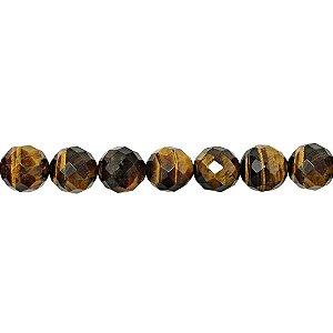 10-0145 - Fio de Pedras Olho de Tigre Bola Facetadas com Passante 10mm