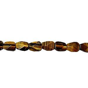 10-0103 - Fio de Pedras Olho de Tigre Irregulares com Passante 23mmx15mm