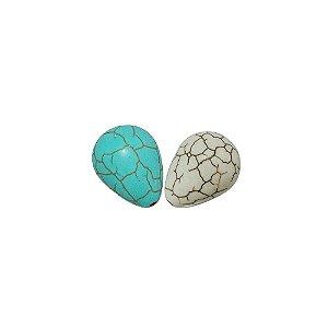 10-0111 - Pacote com 1 Kg de Pedra Turquesa/Marfim Gota com Passante 13mmx17mm