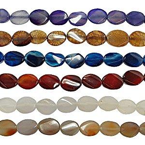 10-0115 - Fio de Pedras Ágata Ovais com Passante 15mmx20mm