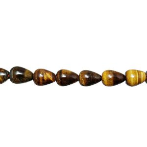 10-0127 - Fio de Pedras Olho de Tigre Gotas com Passante 10mmx14mm