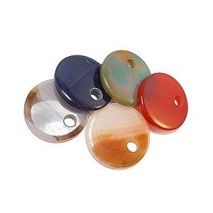 10-0129 - Pacote com 10 Pedras Ágata Colorida Pingente Redondo 45mm