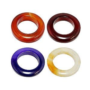 10-0130 - Pacote com 10 Pedras Ágata Coloridas Argola 30mm